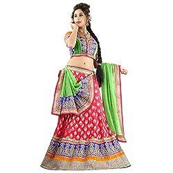 Aagaman Fashions Banarasi Viscose Lehenga Choli (TSSF10003_Red)