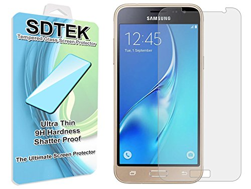 SDTEK Samsung Galaxy J3 (2016) Verre Trempé Protecteur d'écran Protection Résistant aux éraflures Glass Screen Protector Vitre Tempered