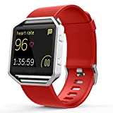 Fitbit Blaze Accessories Classic Band Large, UMTele Soft Silicone Replacement Sport Strap Band with Quick Release Pins for Fitbit Blaze Smart Fitness Watch Orange Red, Frame Not Included (6.7