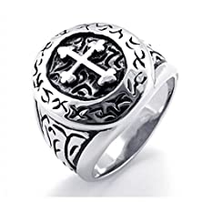 buy Konov Classic Vintage Cross Mens Ring, Stainless Steel Band, Silver, Size 12