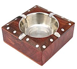 ITOS365 Handmade Wooden Ashtray Square for Home Office Car Gifts