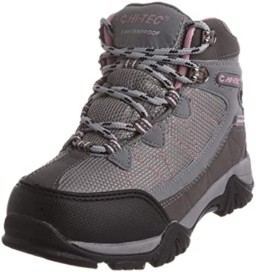 Hi-Tec Tokyo Waterproof, Boys' Hiking Boots, Grey/ Pink, 1 UK