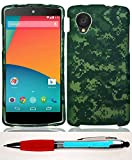 Accessory Factory(TM) Bundle (the item, 2in1 Stylus Point Pen) LG D820 Nexus 5 Green Camo Case Cover Protector