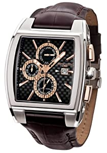 Jorg Gray 6300 Multi-function Carbon Fiber 41mm Watch - Carbon Fiber Dial, Brown Crocodile Strap JG6300-33