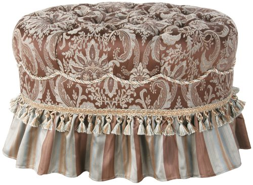 Jennifer Taylor Vellore Oval Ottoman, Multi Chocolate Brown