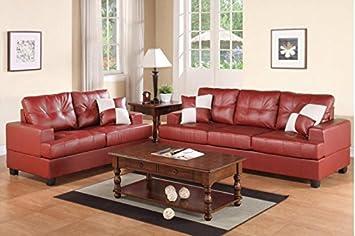2-Piece Sofa Set in Burgundy by Poundex