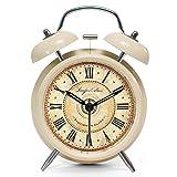 ツインベル常夜燈 目覚まし時計 バックライト付き 金属製時計 大音量 アナログ 連続秒針 音がしない 4インチ カッパー 靑春版で ゴールドレトロ