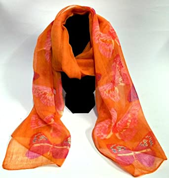Orange butterfly print design chiffon scarf for ladies present gift fashion accessory