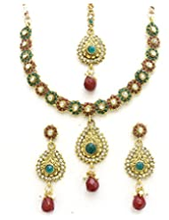 Latrendz Golden Alloy Traditional Necklace Set With Maang Tika