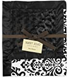 Black and White Isabella Damask, Minky Swirl and Satin Baby Blanket by Sweet Jojo Designs