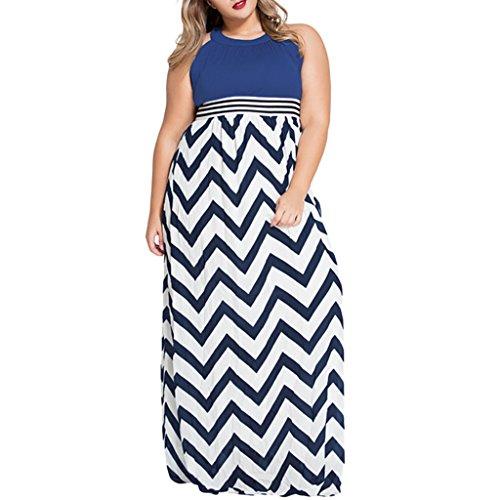 Foryingni Women's Plus Size Chevron Striped Maxi Dress 2XL Blue White