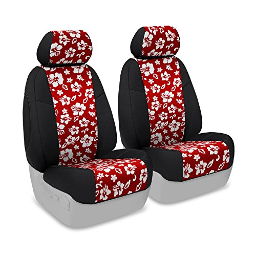 Coverking Custom Fit Front 50/50 Base Seat Cover For Select Mini Cooper Models - Neoprene 2-Tone (Hawaiian Red With Black Sides) front-1078106