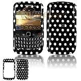 BlackBerry Gemini 8520 PearlFlip Cell Phone Black/white Polka Dot Design Protective Case Faceplate C + Free LiveMyLife Wristband
