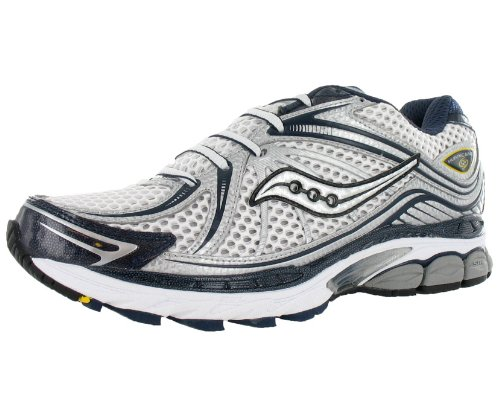 Saucony Men's ProGrid Hurricane 12 Running Shoe,White/Silver/Blue,10.5 M US