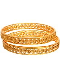 JFL- Stunning Spiral One Gram Gold Plated Designer Bangles For Girl And Women