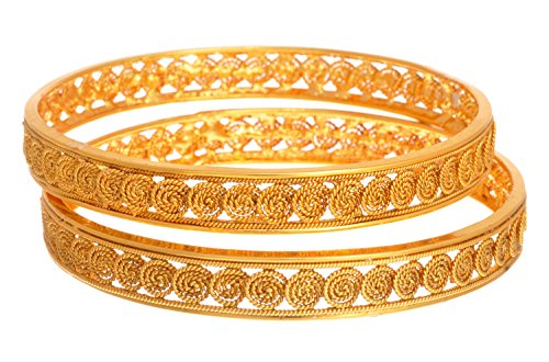 Jfl - Jewellery For Less Copper Golden Bangle Set For Women