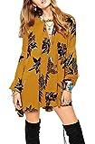 R.Vivimos Women Flowers Print Long Sleeve Asymmetrical Dresses Large Yellow