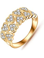 Jewels Galaxy Luxuria Princess Wedding Heart Ring Top Quality Gold Plated Delicate Rings For Women/Girls