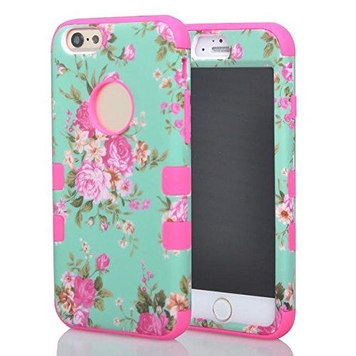 """(Case for Iphone 6/4.7 inch) Bon Venu 3 in 1 Armor Defender Triple Layer Hybrid Camo Hybrid Rubberize Soft TPU Back Skin Case Cover Beautiful Orchid Pattern Skin Protector Case Cover for Apple iPhone 6 4.7"""" case+Screen Protector (Pattern 3)"""