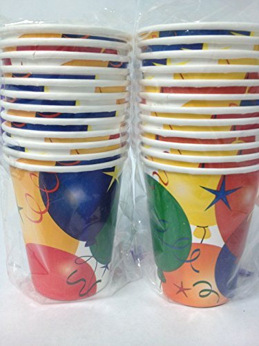Party, Paper Cups - Pack of (24) Birthday Balloon Style Children's