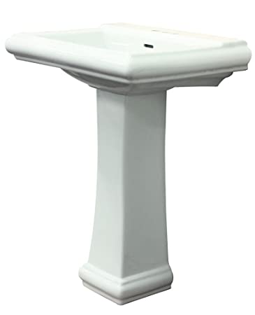 Transolid TLP-1468-01 Avalon Rectangular Pedestal Vitreous China Lavatory 8-Inch Centers, White