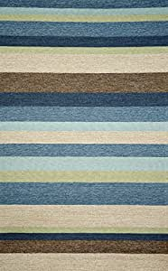 "Amazon Stripe Denim 5 x 7 6"" Indoor Outdoor Rug"