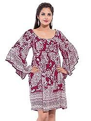 KASHANA Rayon Crepe Purple Paisley Printed Plus Size Sexy Beach Boho Dress Top For Women Ladies Girls