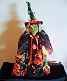 Halloween Decoration - Lighted Witch Winifred & Owl Halloween Sculpture By Christopher James - Illuminated Halloween Decoration - Made in America