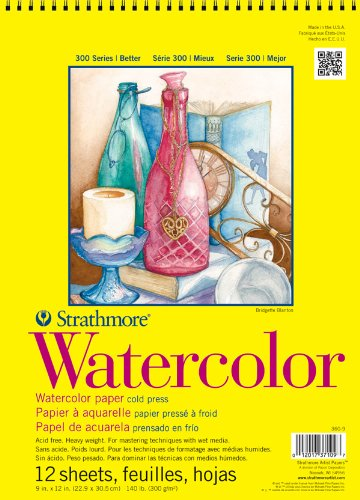 Strathmore 300 Series Watercolor Paper 18 in. x 24 in. pad of 12 wire bound