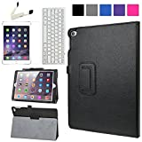 BIRUGEAR iPad Air 2 Case, SlimBook Leather Folio Stand Case Cover for Apple iPad Air 2 / iPad 6 (6 Generation) 9.7 inch Tablet 2014 Version ( Black ) + Screen Protector & Bluetooth Keyboard
