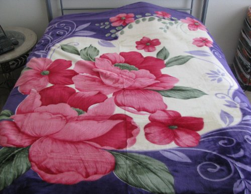 New King Korean Style Mink Blanket--Purple Flower