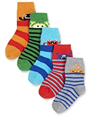 5 Pairs of Cotton Rich Monster Socks