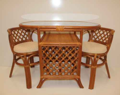 Price Comparisons Borneo Compact Dining SET Table 2 Chairs Brown Handmade  Natural Wicker Rattan Furniture