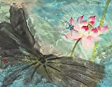 """""""The Dragonfly and the Lotus"""", Giclee Print of Original Sumi-e Flower Painting, 20 x 26 Inches"""