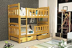 Casper BUNK BED 185x80 alder colour with 2 foam mattresses + storage- Free P&P