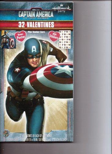 Captain America the First Avenger 32 Valentines with Stickers, Bonus Poster & Teacher Card