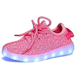 NIBABA 11 Colors Modes Kids\' LED Light Up Shoes Kids Fashion Sneakers Sports Loafers??15,Pink45