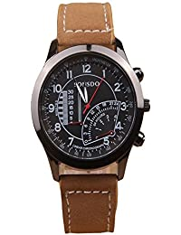 ISweven 2016 Hot Casual Leather Belt Fashion Dial Decoration Trendy Watch Analogue Brown Unisex Wrist Watch W1035aa