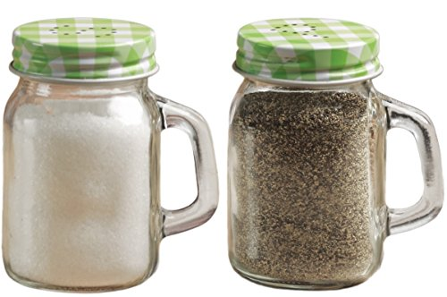 Circleware Mason Jar Salt and Pepper Shakers with Glass Handles and Metal Lids, Green and White Lids, 5 Ounce, Set of 2 in Gift Box, Limited Edition Glassware Serveware (Blue Mason Jars For Sale compare prices)