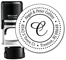 Monogram Address Stamp - Personalized Self Inking Rubber Stamp (MOAD025-SI) - with Locking Bottom Cover
