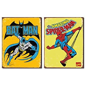 Nostalgic Superhero Tin Metal Sign Bundle - 2 comic book hero signs: Batman Retro & Spider-Man Retro 0078