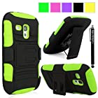 Cellularvilla Samsung Galaxy S3 S III Mini I8190 Green Black Prime Series Hard Soft Dual Layer Holster Case KickStand with Locking Belt Swivel Clip Cover Protector + Stylus Touch Pen