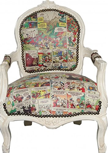 Casa Padrino Baroque highchair comic leather look / antique cream - Armchair