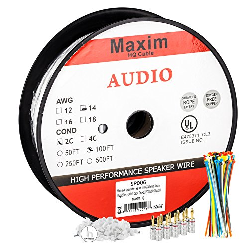 In Wall Speaker Wire | 100 Feet | 14AWG CL3 Rated 2-Conductor Wire White Oxygen Free Copper includes banana plugs cable clips and ties (Play Free Ga compare prices)