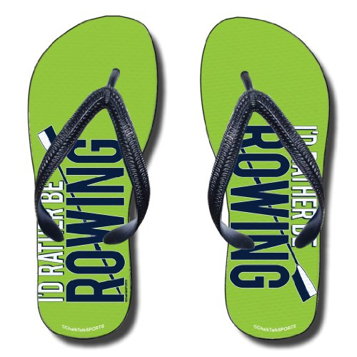 Flip Flops I'D Rather Be Rowing On Lime Green - Adult Medium