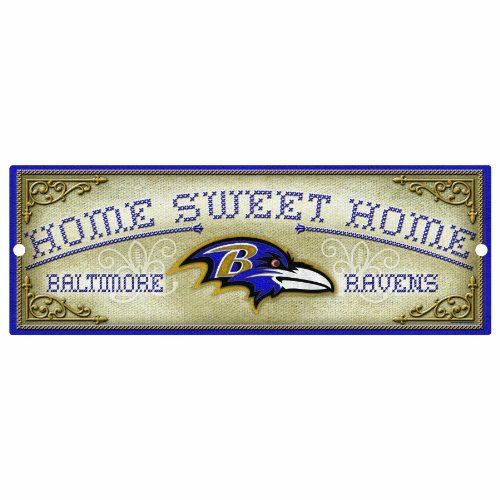 "Nfl Baltimore Ravens 6-by-17 Wood ""home Sweet Home"" Cross Stitch Sign Picture"
