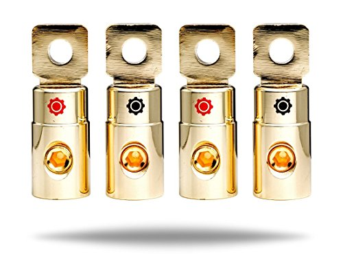 InstallGear 1/0 AWG Gauge Gold Ring Set Screw Battery Ring Terminals (4 Pack) (1 0 Gauge Wire compare prices)