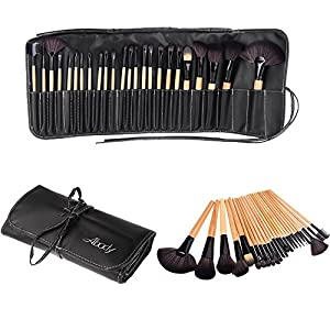 Wood 24Pcs Makeup Brushes Kit Professional Cosmetic Make Up Set + Pouch Bag Case Black