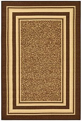 "Ottohome Collection Brown Color Contemporary Bordered Design Area Rug With Non-Skid (Non-Slip) Rubber Backing (3'3""X5'0"") by Ottomanson"