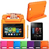 HDE Kids Shock Proof Foam Handle Case Stand for Kindle Fire HD 7 + Screen Protector (Orange)